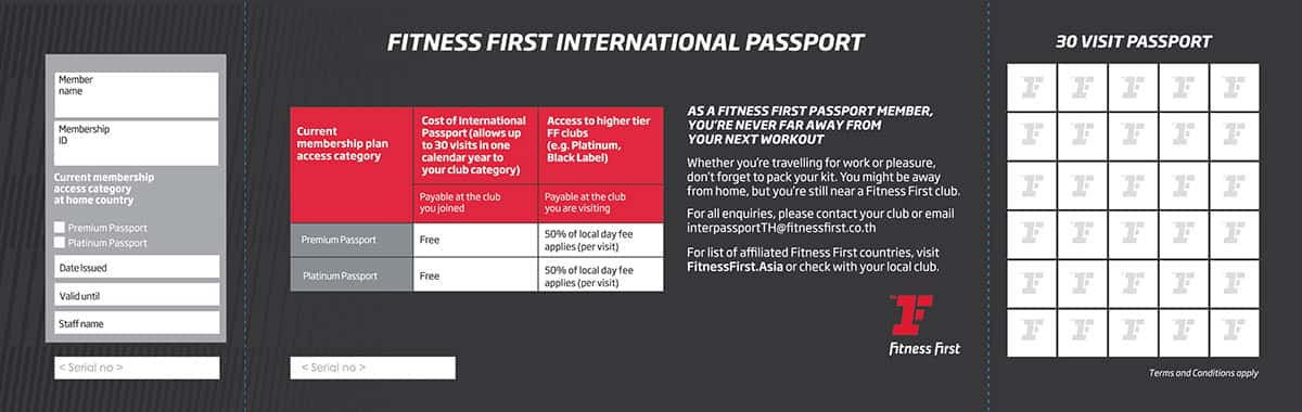 Fitness First International gym passport